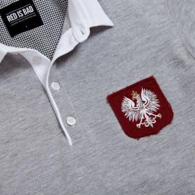 Rugby polo z ręcznie podniszczaną tarczą z Polskim Orłem - szara