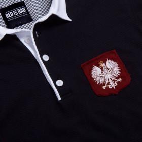 Rugby polo z ręcznie podniszczaną tarczą z Polskim Orłem - czarna