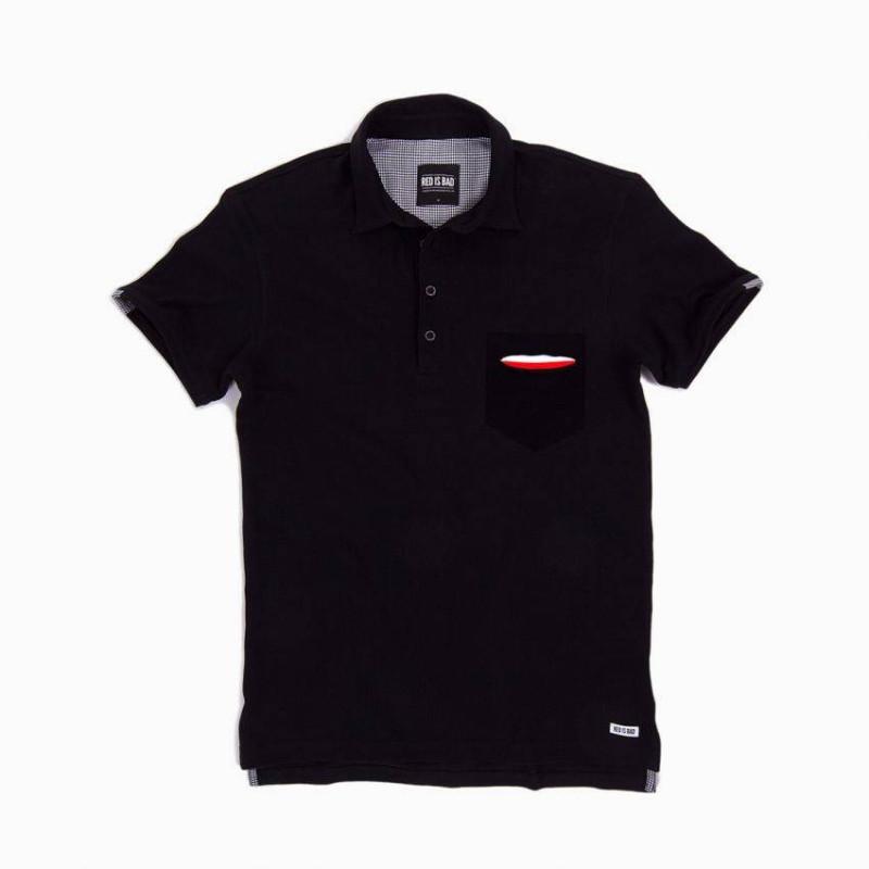 Koszulka polo z kieszonką z motywem polskiej flagi - czarna