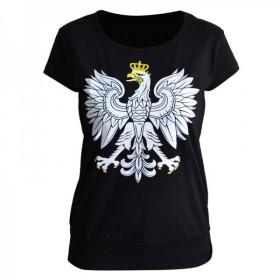 Koszulka patriotyczna damska Orzeł (czarna)