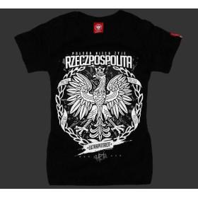 Koszulka patriotyczna damska Rzeczpospolita (czarna)