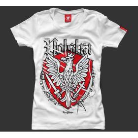 Koszulka patriotyczna damska Polska (biała)