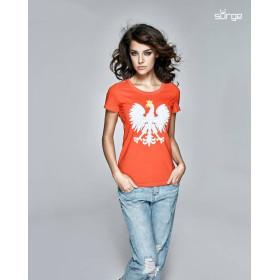 Koszulka patriotyczna damska Godło Polski (CZERWONA)