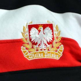 "Bluza patriotyczna klasyczna czarna pasy ""Polska"""