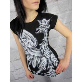 Koszulka Patriotyczna damska ORZEŁ BIAŁY (czarna)