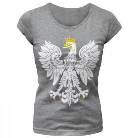 Koszulka patriotyczna damska Orzeł (popiel)