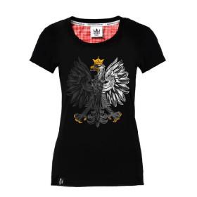 Koszulka patriotyczna Orzeł Biały - czarna (damska)