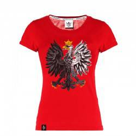 Koszulka patriotyczna Orzeł Biały - czerwona (damska)