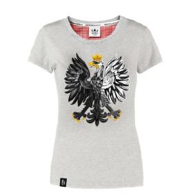 Koszulka patriotyczna Orzeł Biały - szara (damska)