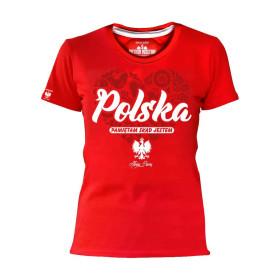 Koszulka patriotyczna Polska - Pamiętam skąd jestem - damska (czerwona)