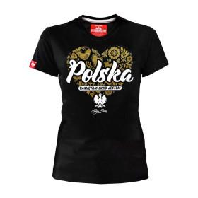 Koszulka patriotyczna Polska - Pamiętam skąd jestem - damska (czarna)