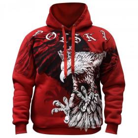 """Bluza patriotyczna z kapturem """"Tysiące serc, jedno bicie"""" - czerwona"""