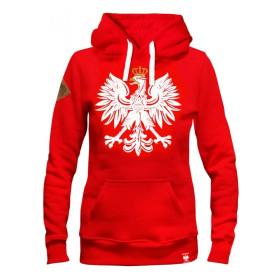 Damska bluza patriotyczna z kapturem Orzeł - czerwona