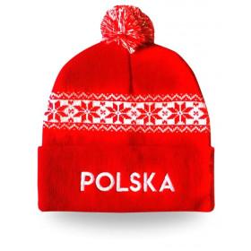 Czapka zimowa dla kibica - Polska - czerwona